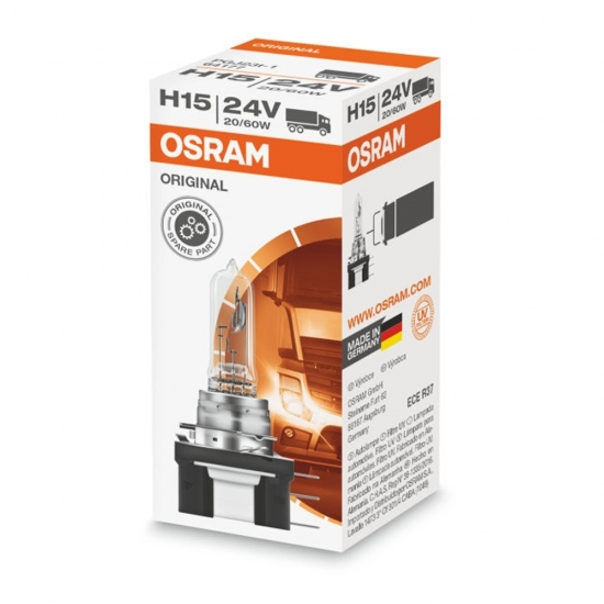 Лампа галогенная Osram Original H15 24V 60/20W PGJ23T-1 64177