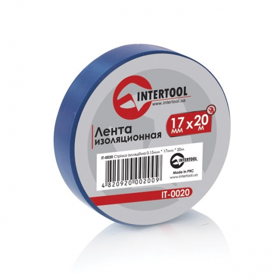Лента изоляционная 0.15x17 мм 20 м синяя Intertool IT-0020