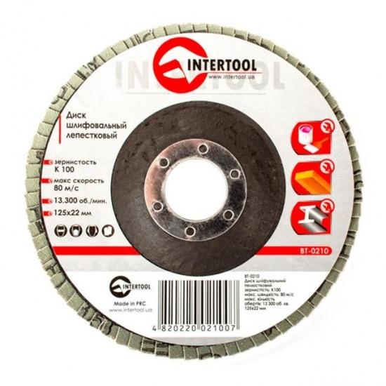 Диск шлифовальный лепестковый 125x22 мм зерно K100 Intertool BT-0210