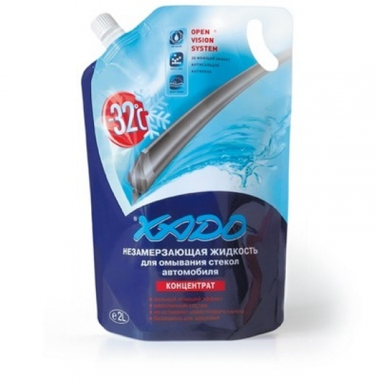 Жидкость для омывания стекол автомобиля XADO -32⁰С лимон и лайм пакет 2 л