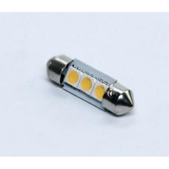 Лампа LED софитная C5W 24V T11x31-S8.5 (3 SMD size5050) теплый белый свет Tempest