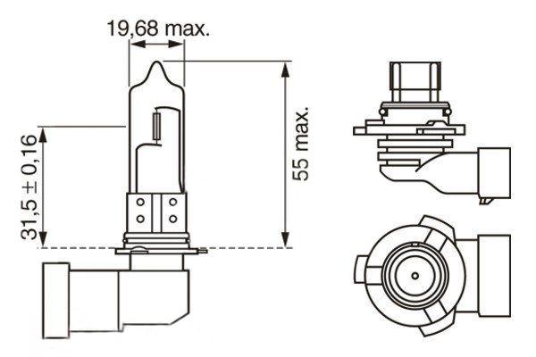 Лампа накаливания HB3 12V 60W P20d PURE LIGHT Bosch