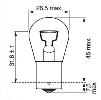 Размеры лампы накаливания BA15s 24V P21W Tempest
