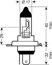 Размеры лампы Osram 64196