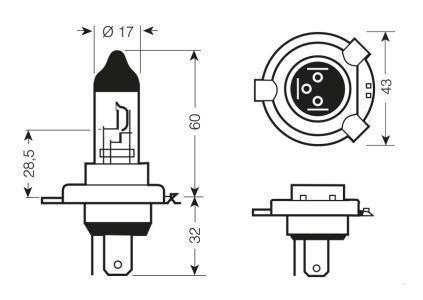 Размеры галогеновой лампы АКГ 24-75-70