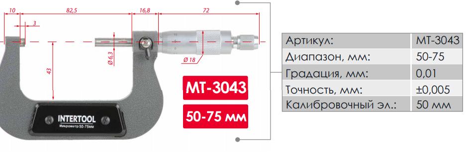 Микрометр INTERTOOL MT-3043 - технические характеристики